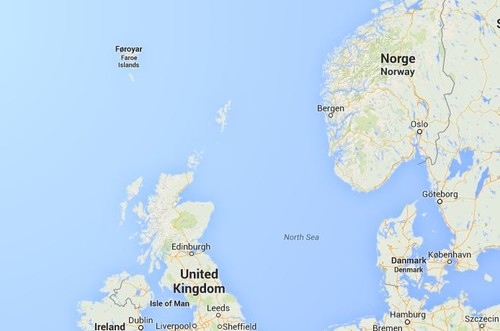 Kartta, Färsaaret, sijainti