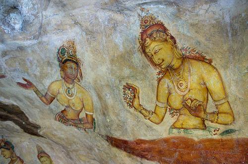 Sigiriya, Sri Lanka. Kalliomaalaus.