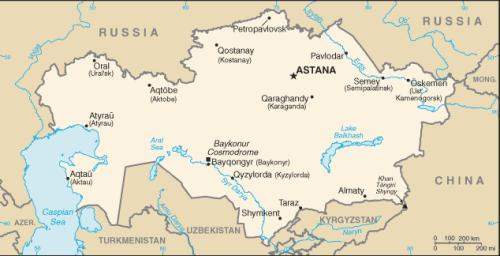Kazakstan, kartta (CIA)