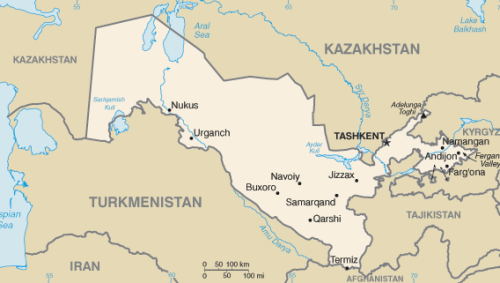 Uzbekistan, kartta