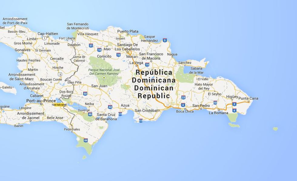 Dominikaaninen tasavalta, kartta.